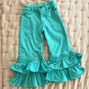 Persnickety Girls Turquoise Ruffle Jeans